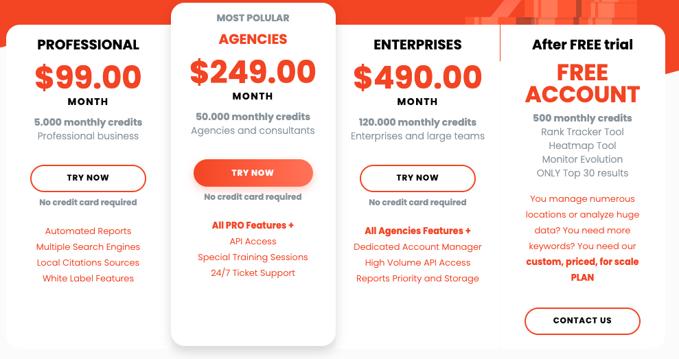 GEORanker price table - List of Best API for keyword research