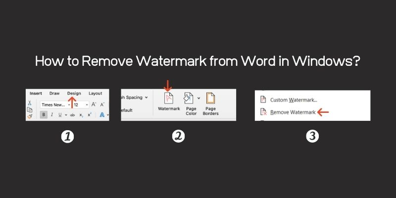 Followed these 3 steps to Remove Watermark from Word Document in windows