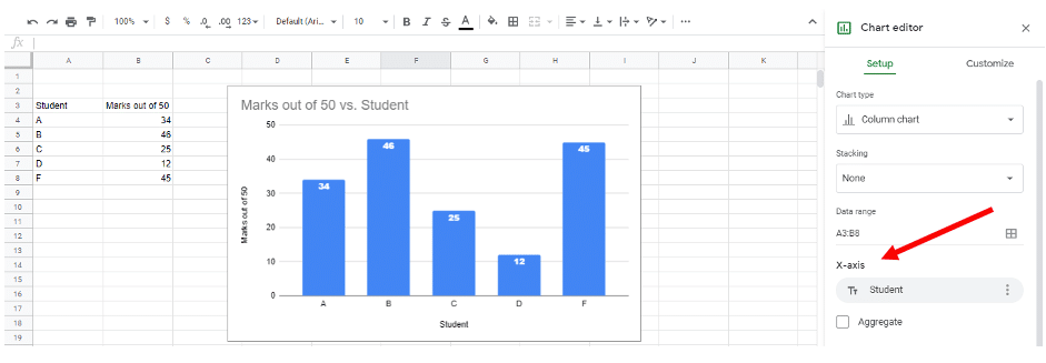 change graph x axis in Google sheets