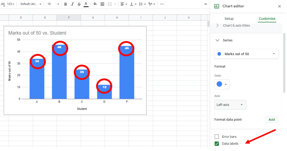 label chart in Google sheets