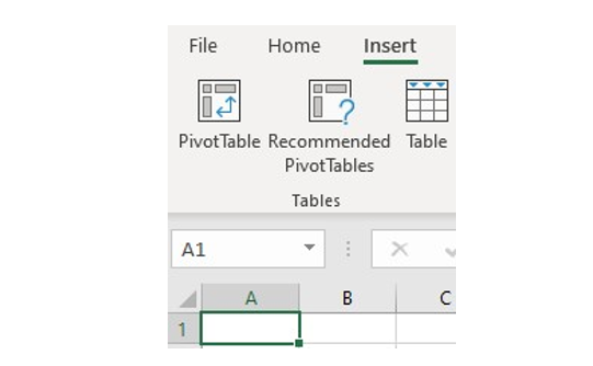 Select Pivottable from menu
