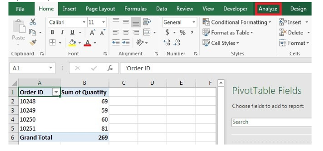Create pivottable in excel