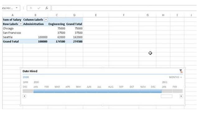 Timeline in excel using pivottable