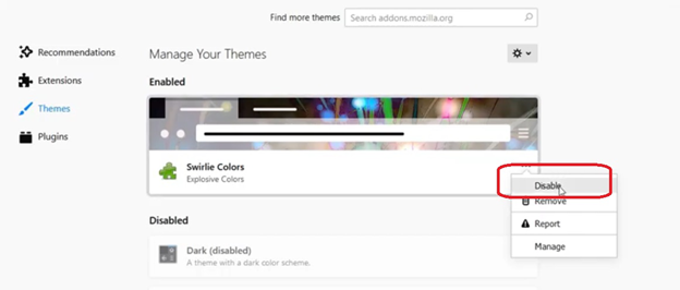 disable it from theme